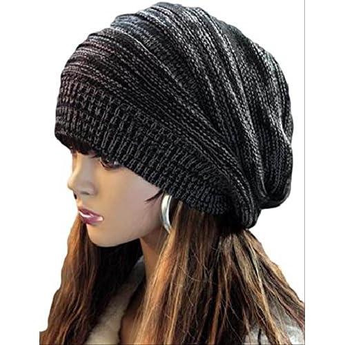 シンプル カジュアル ニット 帽 デザイン 帽子 (ブラック, フリー)