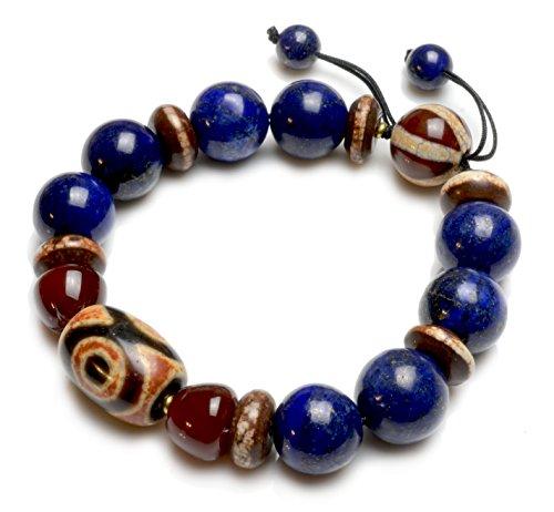 Auspicious Lapis Lazuli Tibetan 3 Eyes Dzi Bead Protective Amulet Bracelet – Fortune Feng Shui Jewelry