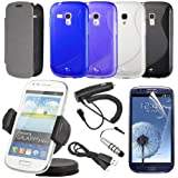 12 Bundle Pack Leather Case Car Charger for Samsung Galaxy S3 Mini i8190 BC126