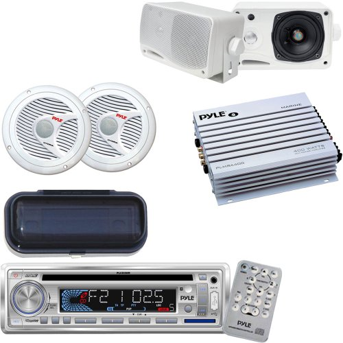 Pyle Marine Stereo, Radio Receiver, Speaker and Amplifier Package - PLCD3MR AM/FM-MPX IN -Dash Marine CD/MP3 Player/USB & SD Card Function - PLMR24 3.5'' 200 Watt 3-Way Weather / Water Proof Mini Box Speaker System (White) - 4 Channel 400 Watt Waterproof