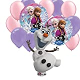 13 pc Disney Frozen Party Balloons: Jumbo Olaf , Elsa Anna Round, 5 Pink 5 Purple Latex