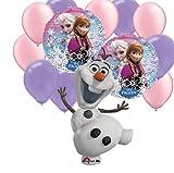 13 pc Disney Frozen Party Balloons: Jumbo Olaf , Elsa Anna Round, 5 Pink 5 Purple Latex