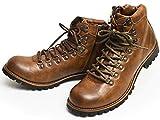 ZEENO(ジーノ) マウンテンブーツ トレッキング ブーツ シューズ サイドジップ メンズ 靴 替え紐付き 25.5cm Brown 茶色 ブラウン