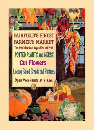 """Canvas Potted Plants Fruits Vegetables Flowers Fairfield Finest Farmer Market Crate Label 16"""" X 22"""" Image Size . Vintage Poster On Canvas. Art Reproduction . We Have Other Sizes Available! front-381104"""