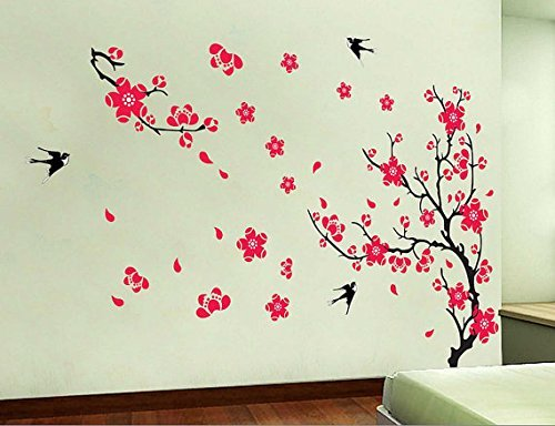 cherry-blossom-wall-decal-spring-trend-flower-wall-sticker-vine-wall-decal-with-red-florals-living-r