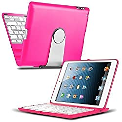iPad Mini 4 Keyboard Case, CoverBot iPad Mini 4 Keyboard Case Station HOT PINK Bluetooth Keyboard For iPad Mini 4. Folio Style Cover with 360 Degree Rotating Viewing Stand Feature