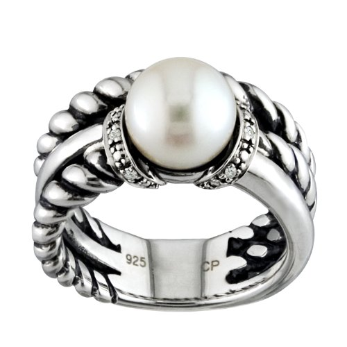 Sterling Silver Antique-Style Ring with Twisted Rope and Smooth Band, Diamond Accents, and White Freshwater Pearl