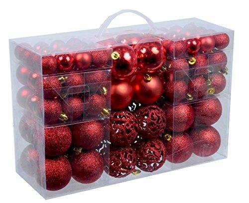 100-Weihnachtskugeln-Rot-glnzend-glitzernd-matt-Christbaumschmuck-bis--6-cm-Baumschmuck-Weihnachten-Deko-Anhnger
