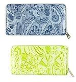 FAE Women's Wallet multi colour set of 2 by JDK NOVELTY - (Set2BGW3857GreyGreen)