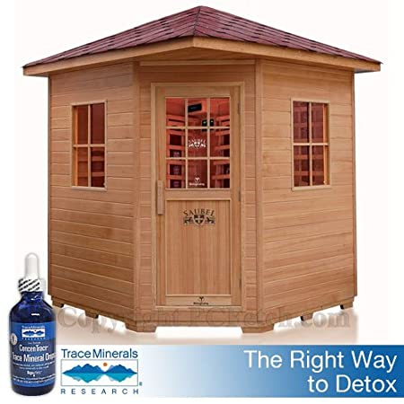4 / 5 Person Outdoor Infrared Sauna + 4oz. Concentrace Trace Mineral Bottle