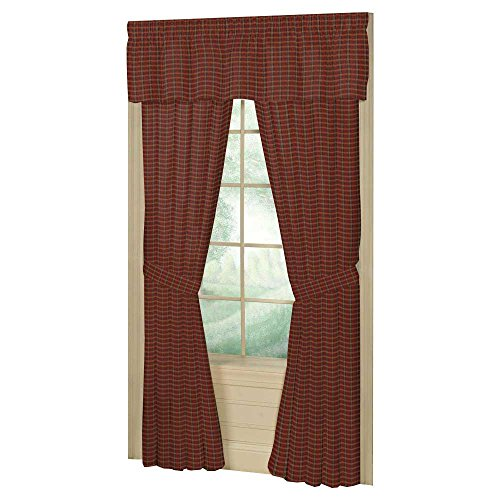 Patch Magic Red-Golden Rustic Plaid and Black Lines Window Curtain, 40-Inch by 80-Inch Panel, 4-Inch Loop (Rustic Curtain Panels compare prices)