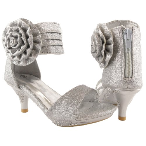 Girls' Ankle Wrap High Heel Glitter Dress Sandals W/ Flower Silver , 9