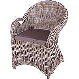 4x Armlehnenstuhl Stuhl Roma spezial Rattan Geflecht in Grey Wash