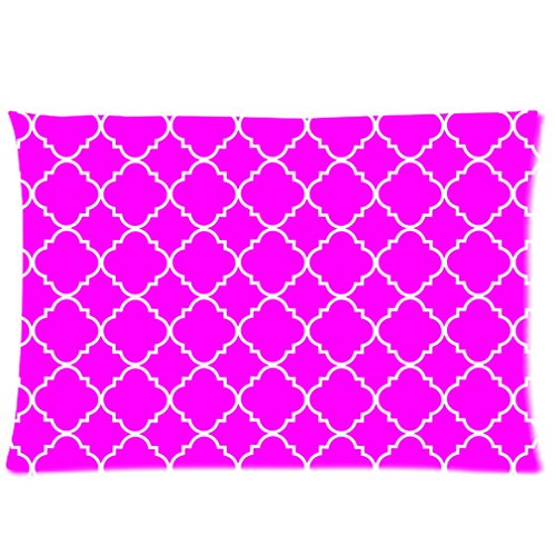 Cool Quatrefoil Simple Purple And White Classic Reticular Custom Zippered Pillow Cases 20X26 (Two Sides) front-893886