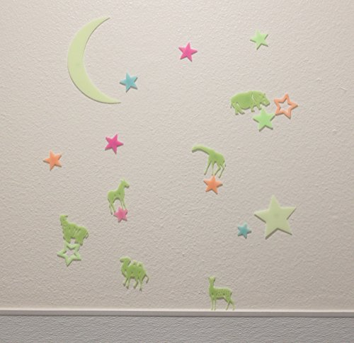 US Seller Luminous Wall Stickers Glow in the Dark Moon Star Africa Animals for Baby Kid