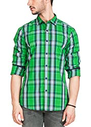 Zovi Cotton Slim Fit Jade & Mint Green Checkered Casual Shirt(12037203101_Small)