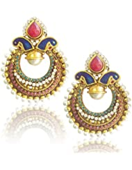 Classic Peacock Meenakari Earrings With Rich Stone And Pearl Work By Adiva Abchi0baf002PSEAZ002MG