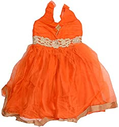 Kanchoo Girls' Short Frock (BSKF042_2-3 Years, Orange, 2-3 Years)