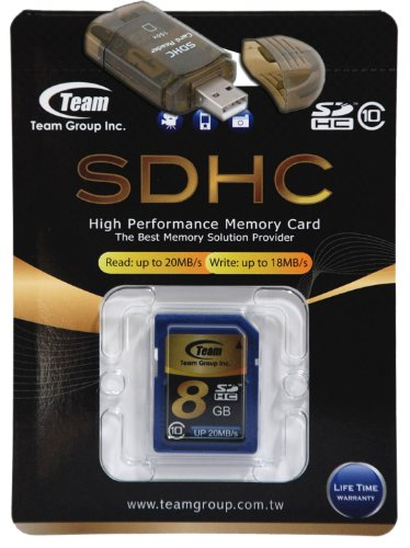 8GB Class 10 SDHC Team High Speed Memory Card 20MB/Sec. Fastest Card in the Market FOR Panasonic Camera Lumix DMC-ZS5 DMC-ZS6. A free High Speed USB Adapter is included. Comes with Lifetime Warranty.
