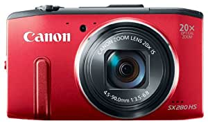 """Canon PowerShot S280 HS Appareil photo numérique compact 12,1 Mpix Écran LCD 3"""" Zoom optique 20X Rouge"""