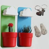 Singeek(TM) Cloud-Shaped Indoor Wall Mount Rainy Pot Hanging flower Pot With One Pair Singeek Lover Keychain Gift(2, Blue+Green)