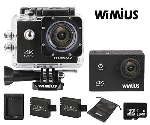 WiMiUS Action Cam 4K Action Kamera WiFi Actioncam HD 16MP Wasserdichte Helmkamera mit 2Akkus, 16GB High-Speed Karte