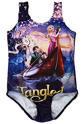 Timemory Girls Print One Piece Swimwear Swim Suits (Disney Tangled L) (Disney Tangled Clothing compare prices)