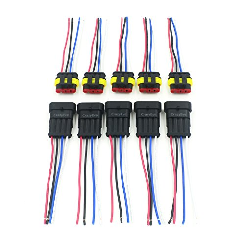 CrazyEve 5 Sets 4 Pin Car Waterproof Electrical Connector Plug with Wire Electrical Wire Cable Connector Plug Car Motorcycle truck