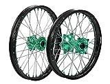 """ProTrax Complete Wheel Rim Set Green Hub Front&Rear 21""""&19"""" KAWASAKI KX125 KX250"""
