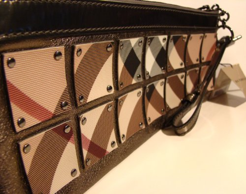 Authentic Burberry Super Nova Check Dark Nickel Wristlet Wallet Handbag