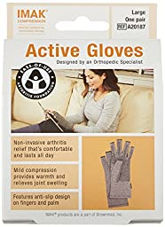 IMAK Compression Active Arthritis Gloves, Original with Arthritis Foundation Ease of Use Seal, Large
