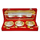 Silver & Gold Plated Brass Bowl Set Of 7 Pcs With Box Packing