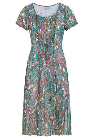 Michèle Boyard, Paisley-Kleid Für Damen In Crash-Optik, Damen, Größe 36, oliv