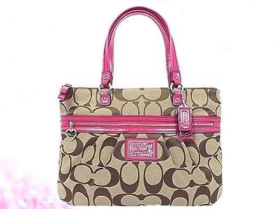 Coach Daisy Signature Tote Shoulder Bag Khaki Raspberry F22947