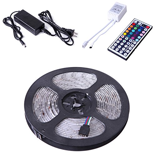 Hde 300 Led Waterproof Rgb Multicolor 5050 Smd Indoor/Outdoor Flexible Light Strip Kit With 44 Key Remote & 12V Dc Power Supply - 16.4 Ft