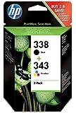 HP SD449EE - Pack de 2 cartuchos de tinta HP 338 y 343, multicolor
