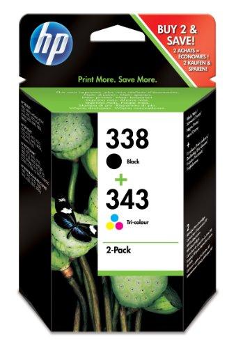 HP 338/343 Multipack Original Druckerpatrone (1x Schwarz, 1x Farbe) für HP Deskjet, HP Officejet, HP Photosmart, HP PSC
