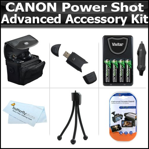 Advanced Accessory Kit For Canon Powershot Sx160 Is, Sx160Is, Sx20Is Sx20 Is Sx130Is Sx130Is Sx150Is Sx150 Is Digital Camera Includes Usb 2.0 High Speed Card Reader+ 4 Aa High Capacity Rechargeable Nimh Batteries + Ac/Dc Rapid Charger + Case + + More