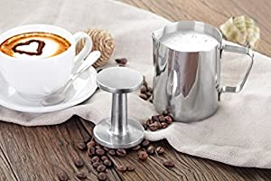 New Star Foodservice 28829 Commercial Grade Stainless Steel 18/8 12 oz Frothing Pitcher and Die Cast Aluminum Tamper Combo Set, Silver from New Star Foodservice