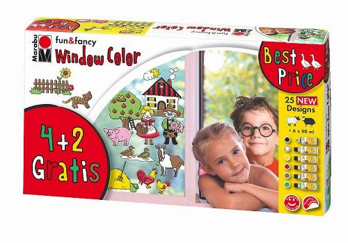 Marabu 040600101 - Window Color-Set 6x80ml Farmer`s World
