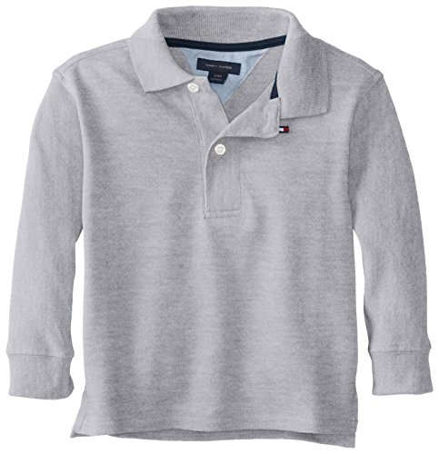 Tommy Hilfiger Baby-Boys Infant Long Sleeve Ivy Polo, Grey Heather, 24 Months front-696577
