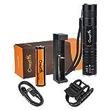 CrazyFire ledライト 強力 CREE XM-L T6 ポータブル 小型 自転車ライト5点セット(ledライト本体、18650電池、USBケーブル、充電器、サイクルホルダー付属)LED搭載 最大明るさ800ルーメン ズーム式 5モード18650電池対応