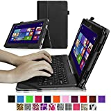 "Fintie ASUS Transformer Book 10.1 inch Laptop T100TAM / T100 / T100TA / T100TAF Case - Premium PU Leather Keyboard Stand Cover For ASUS Transformer Book 10.1"" Detachable 2-in-1 Touch Laptop, Black"