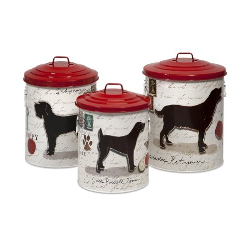 """Set Of 3 Lidded Red, Black And White Dog Food Storage Canisters - 19"""" front-257515"""