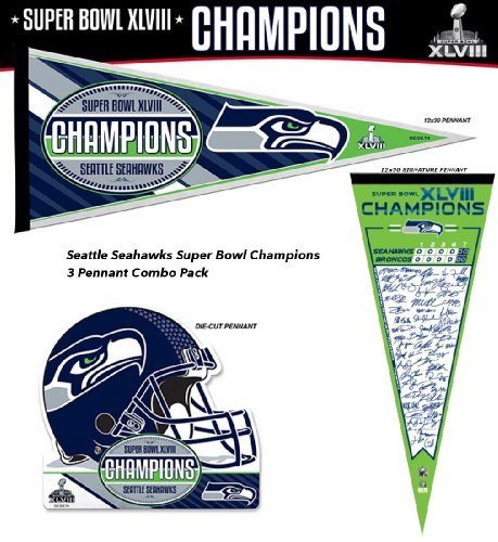 Seattle Seahawks Super Bowl XLVIII Champions Pennant (Combo Pack) at Amazon.com