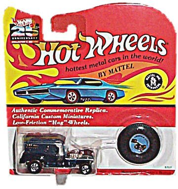Hot Wheels - 25th Anniversary Collector's Edition - Paddy Wagon (Colors Vary) - Basic Wheel Hubs - Authentic Commemorative Replica w/Matching Collector's Button