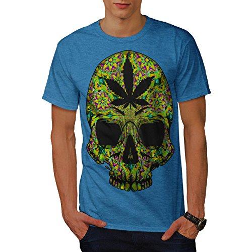 Cannabis-Skull-Head-Pot-Skeleton-Men-NEW-Royal-Blue-S-T-shirt-Wellcoda