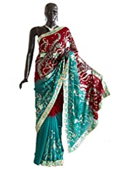 Cyan and Maroon Gorgeous Saree with Embroidery and Sequin Work - Georgette