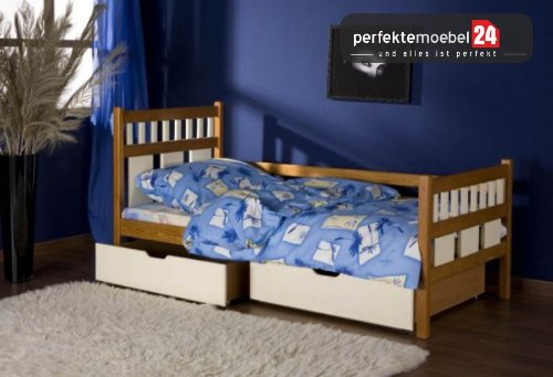 LUISE inkl. LATTENROST und MATRATZE Kinderbett Jugendbett Einzelbett massiv Kiefer günstig