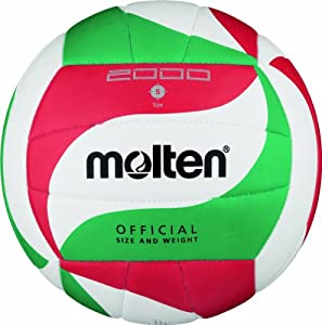 Molten V5M2000 Ballon de volley-ball Blanc/vert/rouge Taille 5